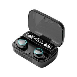 M10 TWS Fone de ouvido Bluetooth sem fio fones de ouvido estéreo sem fio Esporte Earphones Toque Mini auriculares à prova d'água com microfone 2000mAh