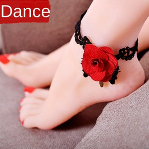 Fanshu dança do ventre prática terno 2019 flor vermelha Handmade Lace novos acessórios de decoração de renda das mulheres tornozeleira artesanais tornozeleira