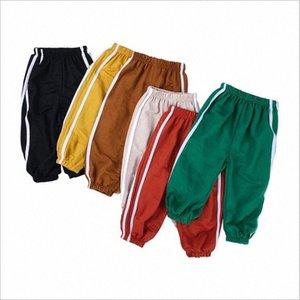 Enfants d'été Anti Mosquito Pantalons Garçons Pantalon rayé en coton lin lanternes Pantalons Boutons Casual Bloomers Condition Air Knickerbockers mHa6 #