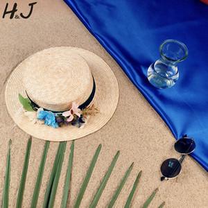 Trigo Mulheres Straw Sun Hat Lady Verão Plano Prok Pie Aba larga Boater Hat Handmade Flor 56-58cm Tamanho