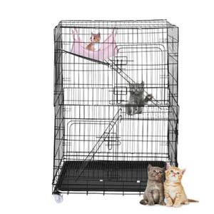 Gran caja plegable para mascotas jaula de alambre Cat Condo cubierta plegable al aire libre perro parque infantil del sueño de vacaciones con 3 escaleras envío