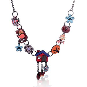Designer Necklace Statement Alloy Enamel Smile Cat Choker Necklace Bee Elephant Pendant Chain Collar Fashion Animal Jewelry for Women