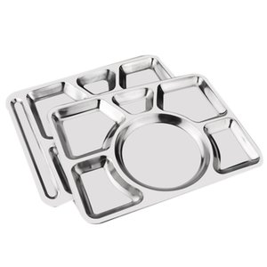 Stainless Steel 6 Compartment Rectangular Dinner Plates, Serving Divided Plates-Silver,15.5 Inch (39.5 cm),Pack of 2