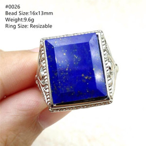 Natural Royal Blue Lapis Lazuli Ring 14x10mm 925 Silver Sterling For Woman Trendy Party Gift Rectangle Crystal Adjustable Ring