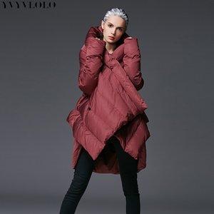 Yvyvlolo 2020 nueva chaqueta de invierno irregular de invierno abrigo de espesamiento largo moda parka mujeres calentar cálido jacket de algodón ropa exterior Tops