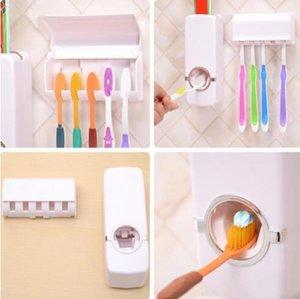 치약 디스펜서 칫솔 홀더 2 개 조각 세트 플라스틱 끊기 벽 자동 치약 디스펜서 Teethbrush 저장 홀더 WY471