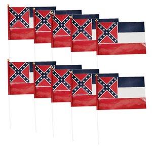 10pcs / set Flags Street Garden Mississippi State Festival Celebração Com Pólo