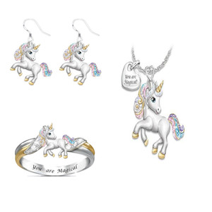 Presente de aniversário novo bonito do arco-íris Unicórnio Conjunto de jóias de prata da cor das crianças jóias anel Set animal dos desenhos animados Jóias