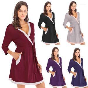 Long Neck luva frouxo Casual Início Spring Summer Womens Designer Pijamas Piping cor sólida Womens Pijama V
