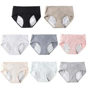 Mujeres de mediana cintura Periodo Breves señoras de la ropa interior de algodón suave menstrual fisiológica de las bragas de la ropa interior de los pantalones a prueba de fugas anti
