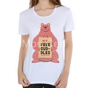 Cute Pink Bear Print Women T shirt Funny Animal T-Shirt Summer Casual Shirt For Lady Top Tee Hipster street style shirt L17-100