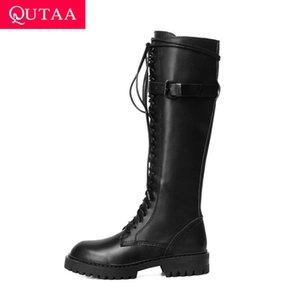 QUTAA 2020 PU Deri Diz Yüksek Boots Toka Moda Dantel Yukarı Fermuar Bayanlar Yuvarlak Burun Kare Topuk Kadın Ayakkabı Boyutu 34-43 pompaları