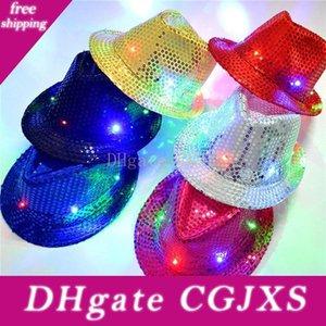 LED del partido coloridos sombreros de vaquero Jazz Lentejuelas gorras Casquillo que destella hijos adultos unisex Festival Coseplay traje Sombreros regalos 6 colores Wx -C19