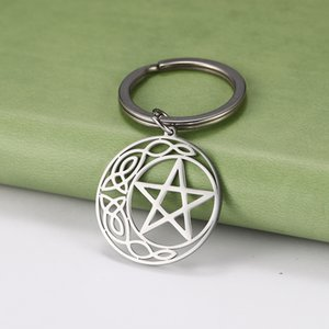 Dawapara Vintage Religious Pentagram Pendant Keyring Stainless Steel Hollow Cut Off Amulet Key Chain