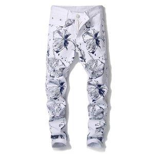 Marca Slim Moda Uomo Fit 3D Flower Stampato Jeans motivo floreale di stampa Skinny Stretch White Denim Pantaloni 906 #