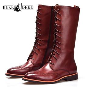 British Style Scarpe a punta uomini stivali alti al ginocchio Vera Pelle Lungo Inverno Booties Nero Lace Up Boots 38-44