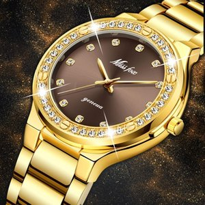 MISSFOX Elegante Frauen-Uhr Weibliche Armbanduhr Japan Movt 30M wasserdicht Gold-Teure Analog Genf-Quarz-Uhr