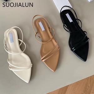 SUOJIALUN mode bande étroite femmes Sandales plates talon Bracelet Chaussures d'été Gladiator Casual Robe Pointu Toe Sandal Chaussures Y200620