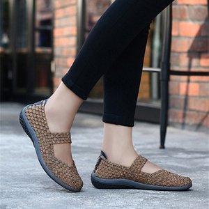 Frauen gesponnene beiläufige Schuh-Slip-on Slide Sandale Weiche Knit Flache Schuhe 50% EVA MD Sole handgemachte Ineinander greifen Schuh-Breathable Damen Fall Schuhe