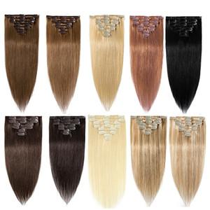 Зажим для волос людей в Extensions 7pcs 14 «-26» Клип Ins Remy человеческих волосы Связка 70г 100г 120г Machine Made Real бразильском натуральных волосы