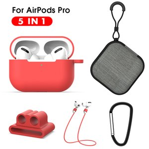 5 IN 1 Protective Case For Air pods Pro Soft Silicone Lanyard Carabiner Earphones Case for Airpods 3 pro Accessories Storage Box