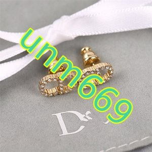 D lettre CD complet boucles d'oreilles en diamant 925 bijoux bague de l'aiguille de l'oreille des femmes anti-allergie Version haute bijoux dior