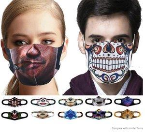 US STOCK Halloween Party Masques Masque Divertissement cosplay numérique Imprimer Masque nouveauté crâne coton pour hommes femmes cosplay masque facial poussière coupe-vent FY9180