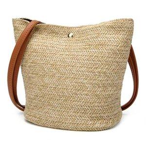 FGGS-2020 South Korea's New Straw bag Casual Handbag Summer Holiday Shoulder Bag Ladies Weaving Bucket Beach Shoulder Bags