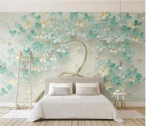 Custom Mural Wallpaper Modern 3D Stereo Green Flowers Tree Photo Wall Paper Living Room Bedroom Home Decor Background Wall Mural