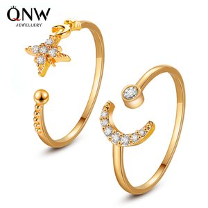 Hot selling temperament simple star moon ring classic style personality opening adjustable index finger ring female