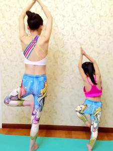 JIGERJOGER 2020 мами Ребенок Matching платье Йога кальсон 2pcs суккуб Banshee Полная длина Спорт Legging Фитнес набор Workout Pant