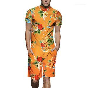 Sleeve Jumpsuits Relaxado Acima Mens joelho Streetwear Floral Verão Imprimir Mens Macacões lapela pescoço curto