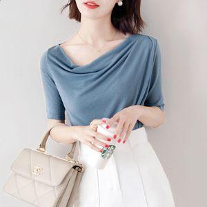 New Autumn cotton shirt tops Women's Summer Skew Collar Half sleeve T-shirt Loose Spring Casual knitting Shirts plus size M-7XL