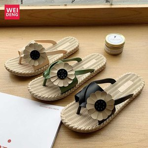 Weideng Casual Beach Sandals Soft Rubber Sole Women Outdoor Flat Slip On Thick Platforms flower Shoes Fast drying Cross Tied