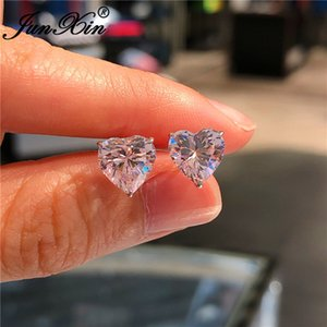 Girls Cute Heart Stud Earrings For Women White Gold Color Brilliant White Zircon Blue Purple Austrian Crystal Wedding Studs Cz