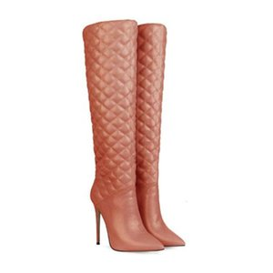 SHOFOO shoes,Beautiful women's boots, leather, about 12cm high heel boots, knee length women's large size boots.