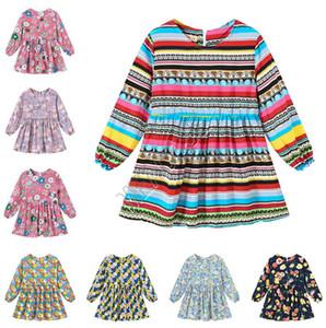 Enfants Spring Baby Girl Robe Filles Trendy Princesse Robes Mignon Long manches Robe Flora Stripe imprimés Vêtements de D82005