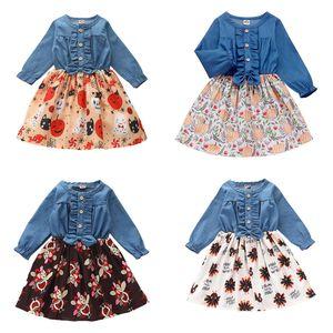 Çocuk Kız Elbise Şükran Türkiye Baskılı Kot Elbise Kızlar Uzun Kollu fırfır Diz Boyu Elbise Gençler Ekleme Çiçek Kıyafetler 060829
