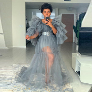 사진 촬영 베이비 샤워에 대한 출산 화보 Vestidos 회색 계층 형 쉬어 파티 드레스 Wihtout 띠 오프 Shoulde 전체 소매 댄스 파티 드레스