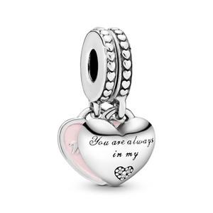 Authentique Argent 925 coeurs Mère fille Dangle Charms Perles Pendentif Fit Pandora Bracelets ou collier pour la fabrication de bijoux bricolage
