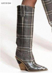 2019 nuova delle donne di griglia Boots ginocchio Calzari tallone di cuneo Point Toe Boots partito delle signore dei pattini Snakeskin Print Leather Calzari donne di alta H 6SrF #