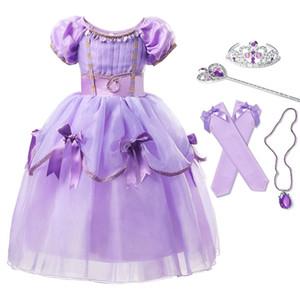 Делюкс Принцесса София платье Косплей костюмы для девочек Bow Многослойные платья Детский карнавал партии Рапунцель костюм Fancy одежда 0926