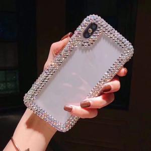 Роскошные Алмазный дизайнер телефон дела Обложка Coque для iPhone 11 Pro Max Xs MAX ХГ 6 7 8 Plus Case Clear Rhinestone Блеск телефон Case