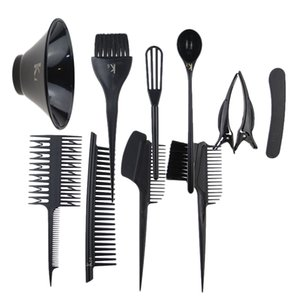 11pcs / Set Professional Hair Salon Dye Set Hair Color Comb Escova Bacia de mistura Tint Ferramenta Headed Brushes Set