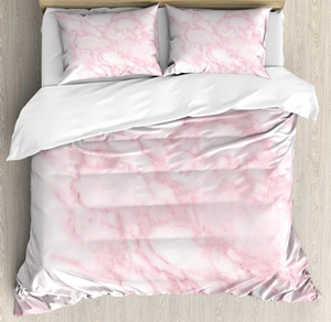 Marble Duvet Cover Set Soft Granite Texture Old Fashion Space Stone Abstract Macro Scratches Girls Image Bedding Set Light Pink