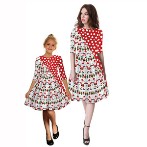 New Digital Printing Mother And Daughter Matching Dress Round Neck Mid Sleeve Dress European And American Fashion Clothing Wholesale