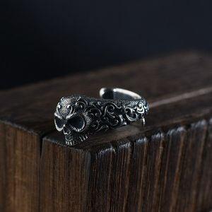 925 Sterling Silver Gothic Punk Skull Rings For Men And Women Jewelry Resizable Vintage Flower Engraved Skeleton Finger Band