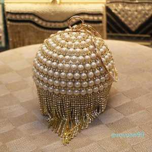 New-pearl Box Clutch Tassels Beaded Handbag Bridal Decoration Ball Party Bag Crystal Evening Fvscn