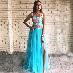 Blue Prom Dress 2020 Flower Appliqued Straps Evening Party Dress Slit Gown robe de soiree Satin Top Tulle Skirt Formal Gown Girl