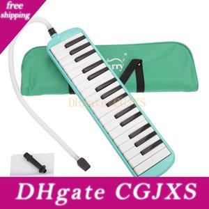 Nouveau 32 clé Melodica avec Sarbacane Coup de tuyau pour les étudiants Harmonica Jouets pour enfants Instruments de musique vert
